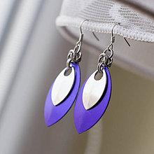 Náušnice - Náušnice Double s malou stříbrnou (Fialové) - 9046104_