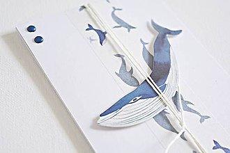 Papiernictvo - Pozdrav pre chlapca - veľryba (Modrá) - 9048170_