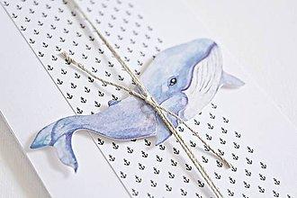 Papiernictvo - Pozdrav pre chlapca - veľryba (Fialová) - 9048188_