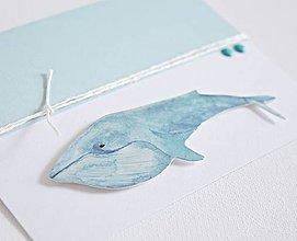 Papiernictvo - Pozdrav pre chlapca - veľryba (Tyrkysová) - 9048193_