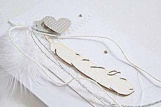 Papiernictvo - Svadobný pozdrav - pierka - 9048290_
