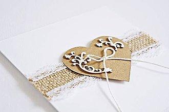 Papiernictvo - Svadobný pozdrav - natur srdiečko II - 9048494_