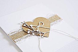 Papiernictvo - Svadobný pozdrav - natur srdiečko I - 9048501_