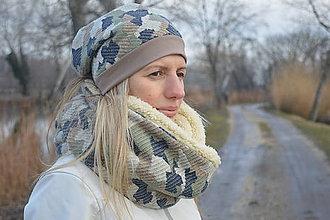 Čiapky - Set Nákrčník Army + UNI zimná čiapka - 9047351_