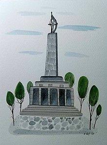Obrazy - Bratislava Slavín ilustrácia  / originál maľba - 9048880_