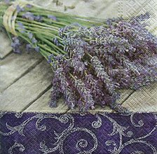 Papier - S1112 - Servítky - kytica, levandula, lavender, ornament, vintage - 9046489_