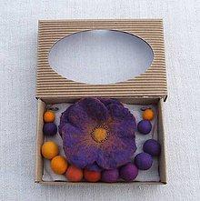 Sady šperkov - ...plstený set - náhrdelník, brošňa, náušnice... - 9046171_