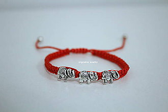 Náramky - Červený náramok sloníky - 9048415_