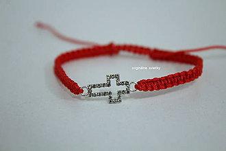 Náramky - Červený náramok s krížikom - 9048433_