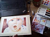 Obrazy - Dieťatko I. - akvarelový portrét - 9049829_