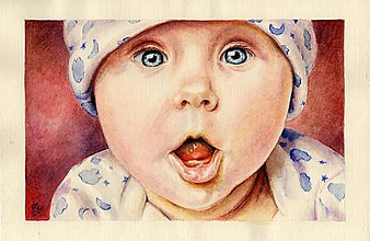 Obrazy - Dieťatko I. - akvarelový portrét - 9047100_