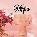 Dekorácie - Zapichovacie meno na tortu (5x15cm - Čierna) - 9049786_
