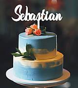 Dekorácie - Zapichovacie meno na tortu (5x15cm - Čierna) - 9049840_