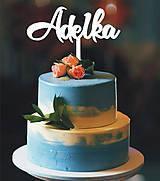 Dekorácie - Zapichovacie meno na tortu (5x15cm - Čierna) - 9049841_