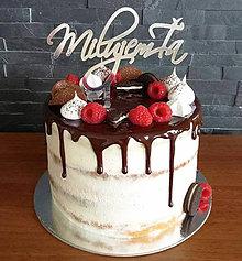 Dekorácie - Zápich na tortu - Milujem ťa  (výška 8cm, šírka 15cm - Čierna) - 9049260_