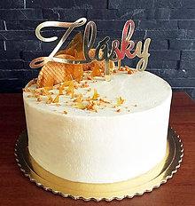 Dekorácie - Zápich na tortu - Z lásky (výška 8cm, šírka 15cm, zápich 7cm - Čierna) - 9049429_