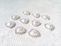 Komponenty - Štrasovo-perlová ozdoba/kabošon - srdce - 9047979_