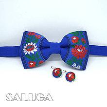 Doplnky - Modrý folklórny motýlik + náušnice - 9049095_