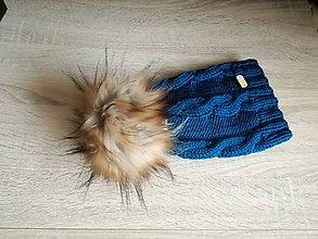 Detské čiapky - modrá čiapka smaragdova - 9047649_