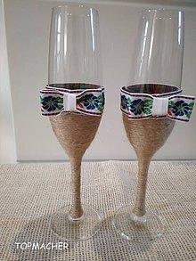Nádoby - Folklórne jutové svadobné poháre IV. - 9049967_