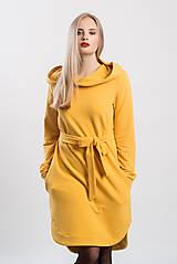 Šaty - Teplákové mikino-šaty šafránově žluté  (XS) - 9045895_