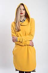 Šaty - Teplákové mikino-šaty šafránově žluté  (XS) - 9045897_