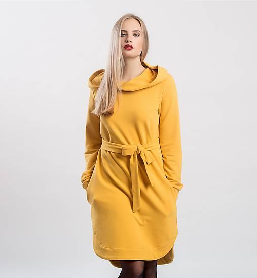 Šaty - Teplákové mikino-šaty šafránově žluté  - 9045893_