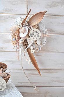 Dekorácie - závesná dekorácia s mušľami - 9049604_