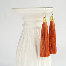 Náušnice - Strapcové náušnice - Oranžová, tmavá - 9049695_