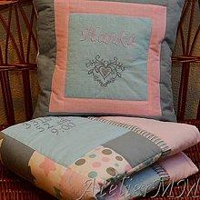 Textil - Ružovo sivá deka k narodeniu. - 9049270_