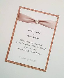 Papiernictvo - svadobné oznámenie so stuhou - 9046229_