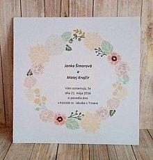 Papiernictvo - svadobné oznámenie 13x13 cm - 9046269_