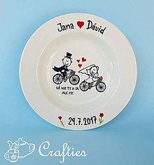 Nádoby - Svadobný tanier - cyklisti - 9049352_
