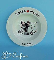Nádoby - Svadobný tanier - na bicykli - 9049383_
