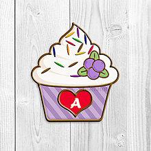 Grafika - Grafika na potlač jedlého papiera - ovocné koláčiky s farebnou ryžou (pásikavé košíčky) (Čučoriedkový) - 9047867_