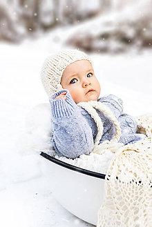 Detské čiapky - Zimná pletená ušianka ALPAKA prírodná - 9050676_