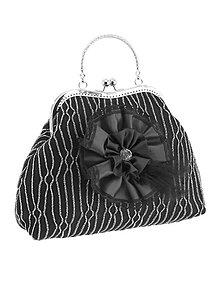 Kabelky - Spoločenská dámská kabelka čierno strieborná 03U1 (Oranžová) - 9050050_