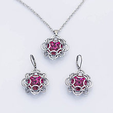 Sady šperkov - Elisabeth souprava - swarovski (fuchsiová) - 9051441_