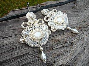 Náušnice - Soutache náušnice Svadobné Luxury Pearl - 9051207_