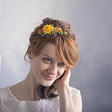 Ozdoby do vlasov - Kvetinová čelenka Oranžová - 9052851_