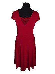 Šaty - šaty z úpletu s čipkou (Červená) - 9051188_