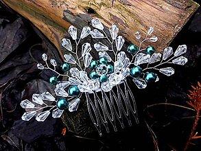 Ozdoby do vlasov - hrebienok smaragdový (Zelená) - 9050618_