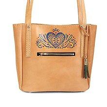 Kabelky - Ľudová maľovaná kabelka z pravej vysoko akostnej prírodnej kože - 9051340_