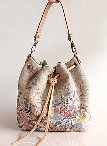 Kabelky - Dámska elegantná ručne maľovaná kabelka z francúzskeho ľanu \