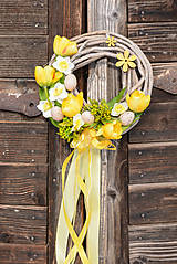 Dekorácie - Jarný žltý venček na dvere - 9050135_