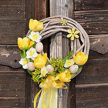 Dekorácie - Jarný žltý venček na dvere - 9050131_