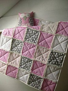 Textil - ružový rag-quilt - 9051324_