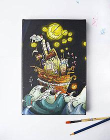 """Obrazy - """"Moonzoon"""" 20cm x 30cm tlačená reprodukcia/plátno - 9054387_"""
