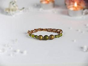 Náramky - Náramok zelený s retiazkou - 9052937_