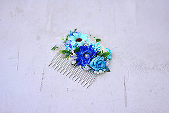 Ozdoby do vlasov - Modrý kvetinový hrebienok - 9052876_